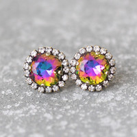 Jewel Tone Rainbow Rhinestone Swarovski Crystal Stud Earrings Pastel Rainbow Rainbow Rhinestone Pendant Necklace Mashugana