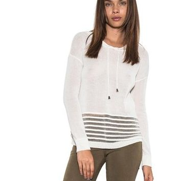 Women's Harley Hoodie Clear Stripe Long Sleeve Casual Top White One Grey Day