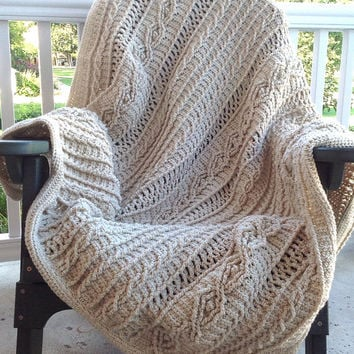 """Oatmeal Colored Acrylic Yarn Crochet Cable """"Knit"""" Afghan"""