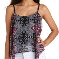 Chain Strap Printed Tank Top by Charlotte Russe - Burgundy Cmb