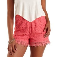 Pink Crochet & Lace High-Waisted Shorts by Charlotte Russe