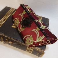 Victorian Burgundy Brocade Evening Clutch TAGT by JeanineDesigns
