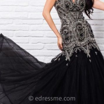 Ornate Scalloped Prom Gown by Tony Bowls Le Gala