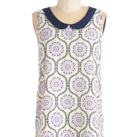 ModCloth Mid-length Sleeveless Classy Collector top in Lilac Pattern