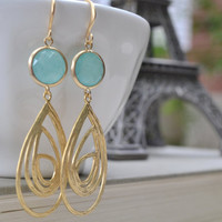 Mint Green and Gold Teardrop Pendant Earrings, Matte Gold French Hooks, Synthetic Frame Gemstone, Bridesmaid Earrings