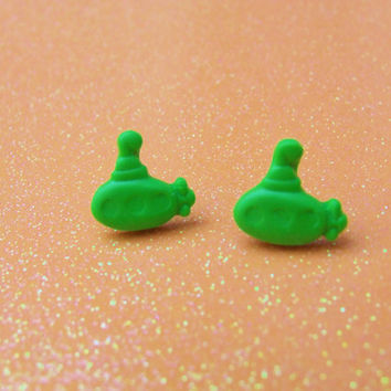 Lime Green Submarine Stud Earrings - Sub Subs Post Earrings - Custom Colors Available - Polymer Clay - Hypoallergenic Nickel Free