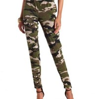 Camo Print Jogger Pants by Charlotte Russe - Olive Combo