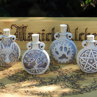 Old World Magick . Natural Raku Potion Bottles for Spell Oils, Incense, Diffuser, Ashes, Pendant . Your Choice