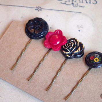 Retro Hair Pin, Vintage Button bobby Pin, black red Hair jewelry, elegant hair pins