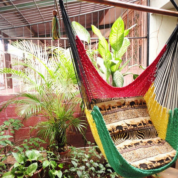 Red Yellow and Green Rasta Sitting Hammock Hanging by hamanica