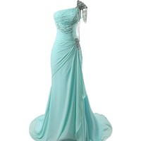 VILAVI Women's A-line One Shoulder Long Chiffon Crystal Prom Dresses