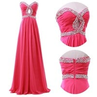 2015 Long Formal Wedding Gown Beaded Evening Prom Cocktail Party Pageant Dresses