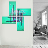 """Original abstract painting. 50x50"""" 4 piece canvas art. Large painting. Aqua painting with purple, black, white. Unique."""