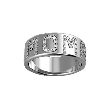 Sterling Silver 9MM Pave' Diamond Initial Band