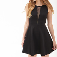 FOREVER 21 Lace Cutout Skater Dress Black