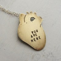 Anatomical Heart Necklace You Are Here Small by HouseThatCrowBuilt