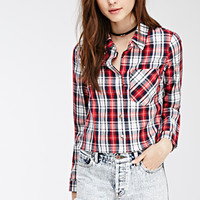 Cropped Western-Inspired Plaid Shirt