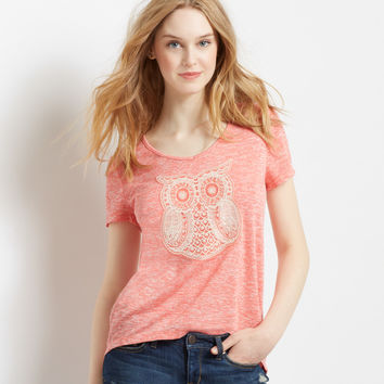 Sheer Crochet Owl Knit Hi-Lo Top