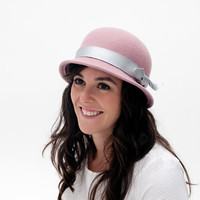 Lileas - Pale pink bowler felt hat with detail of silver leather ribbon