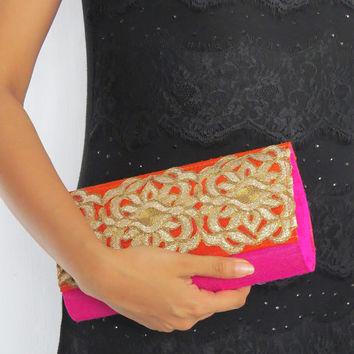 Buy PINK GOLD embellished CLUTCH bag/ floral evening bag/ embellished party wear/ pink purse/ India Silk