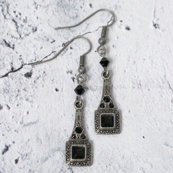 Black & Brushed Silver Downton Abbey Earrings - 20s-Style Great Gatsby Jewelry - Art Deco Earrings - Vintage Style Jewelry
