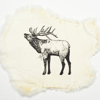 Elk Handpainted Rabbit Pelt