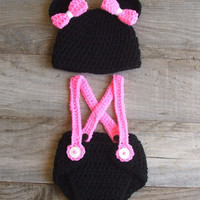 Minnie Mouse Inspired Diaper Cover Set  Newborn by KreativeKroshay
