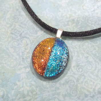 Orange and Blue Necklace, Colorblock, Fused Glass, Etsy Fashion Jewelry - Renee - 4712 -5