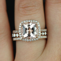 Hollie & Petite Bubble Breathe 14kt Rose Gold Cushion Morganite Pave Halo TRIO Wedding Set (Other metals and stone options available)