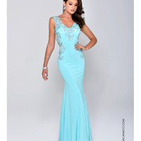 Nina Canacci 8041 Jeweled Open Back Aqua Blue Dress 2015 Prom Dresses