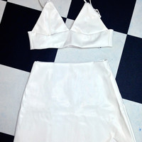 SWEET LORD O'MIGHTY! LEATHER KITTY BRALET IN WHITE