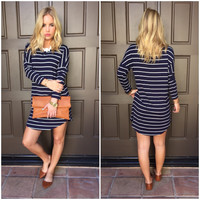 Hampton's Jersey Stripe Dress - NAVY
