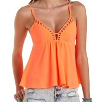 Strappy Cut-Out Swing Tank Top by Charlotte Russe - Neon Coral