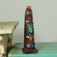 Souvenir Totem Pole • Made in Alaska • Authentic Alaska Craft • Eagle Frog Wolf Owl Otter • Ketchikan