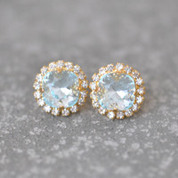 Icy Light Aquamarine Earrings Rhinestone Swarovski Crystal Studs Rhinestone Aqua Pendant Necklace Mashugana