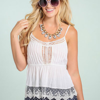 Kaylee White Lace & Crochet Top