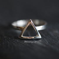 Size 5.5 , Sterling Silver, Handmade Jewelry, Triangle Ring, Statement Ring, Geometric Ring,  Minimalist Ring, Ready To Ship!