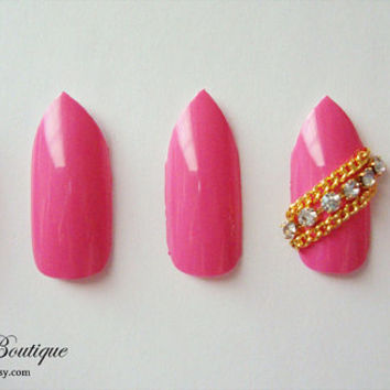 3D Bling Fake Nail Set  - Hot Pink Stiletto Nails with Gold Chains and Rhinestone Accent Nail