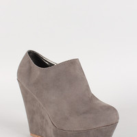 Side Zipper Faux Suede Round Toe Platform Wedge