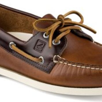 Sperry Top-Sider Authentic Original Cyclone Leather 2-Eye Boat Shoe Tan/Amaretto, Size 14M  Men's Shoes