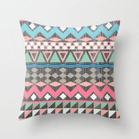 Vintage Wood Aztec, Andes Teal & Pink Abstract Pattern Throw Pillow by Girly Trend | Society6