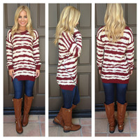 Lose Your Cool Striped Sweater - CREAM & BURGUNDY