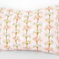 Nursery Pillow Pink With Birds 12 X 16 inches