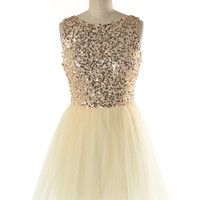 champagne and caviar ballerina sequin tulle dress