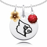 Louisville Cardinals Necklace with Flower and Crystal Ball Accents