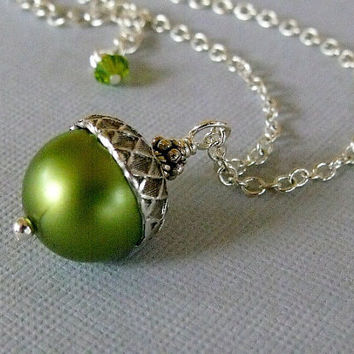 SALE Green Acorn Pearl Necklace by pinkingedgedesigns on Etsy