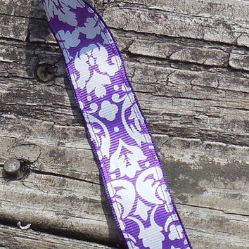 "Grosgrain Ribbon, 7/8"" Chevron Grosgrain Ribbon--Purple and White Damask, sold by the yard, craft supply"