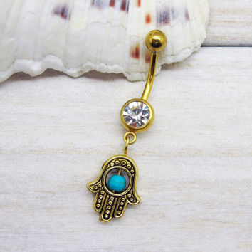 Antique gold  hamsa belly button ring , blue turquois evil eye belly button ring,  navel piercing, belly button ring jewelry,unique gift
