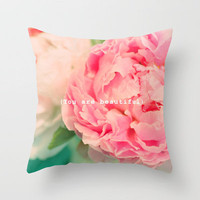{You are beautiful} Throw Pillow by Lisa Argyropoulos | Society6