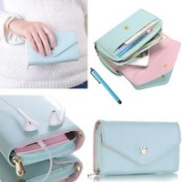 ATC Masione(TM) New Design Multifunctional Coin Purse Wrist Bag Handbag Envelope Wallet Pouch Case for Apple iphone 5S 5C 5 4S 4 Samsung Galaxy S4 S3 N7100 HTC ONE M7 Smart Phone + free Stylus Pen (Light Blue/Crown)